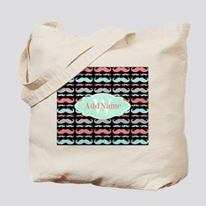 Monogram Funny Mustaches Pattern Tote Bag