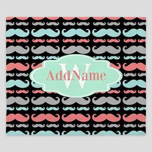 Monogram Funny Mustaches Pattern King Duvet