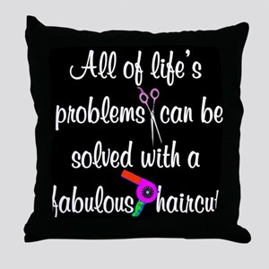 HAIR CUT QUOTE Throw Pillow