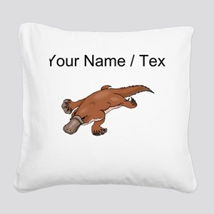 Custom Brown Platypus Square Canvas Pillow