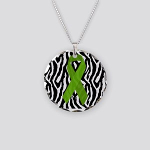 Kidney Ribbon Zebra Print Necklace Circle Charm