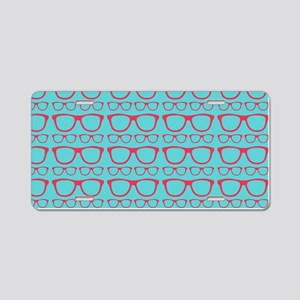 Cute Retro Eyeglass Hipster Aluminum License Plate