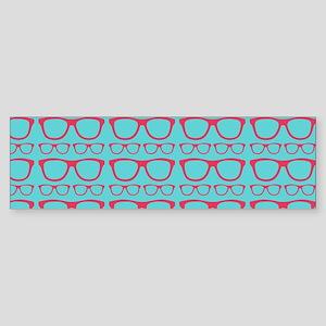 Cute Retro Eyeglass Hipster Sticker (Bumper)