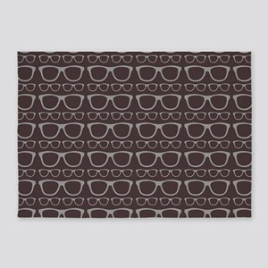 Cute Retro Eyeglass Hipster 5'x7'Area Rug