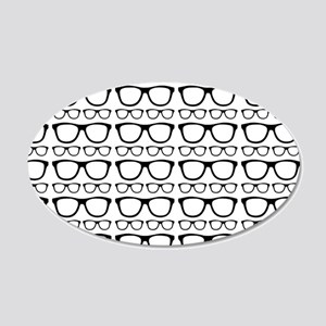 Cute Retro Eyeglass Hipster 20x12 Oval Wall Decal