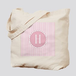 Letter H Pink Candy Stripes Monogram Tote Bag