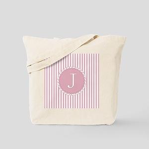 Letter J Pink Candy Stripes Monogram Tote Bag