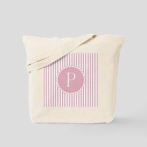 Letter P Pink Candy Stripes Monogram Tote Bag