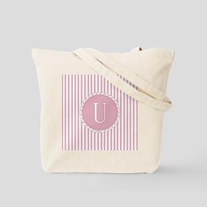 Initial U Pink Candy Stripes Monogram Tote Bag