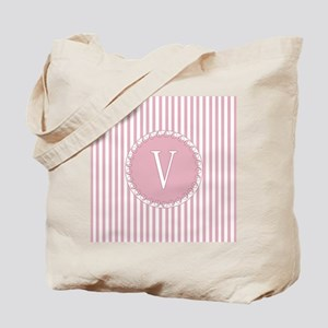Initial V Pink Candy Stripes Monogram Tote Bag