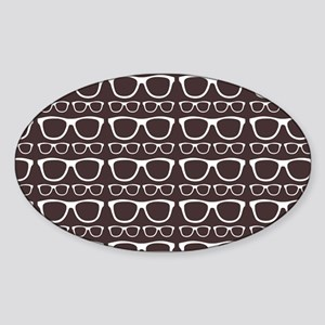 Cute Retro Eyeglass Hipster Sticker (Oval)