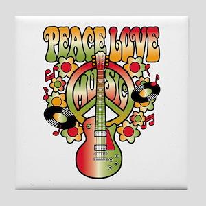 Peace Love Music Tile Coaster