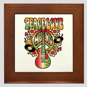 Peace Love Music Framed Tile