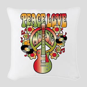 Peace Love Music Woven Throw Pillow