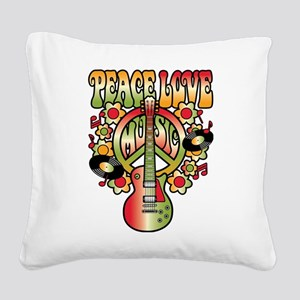 Peace Love Music Square Canvas Pillow