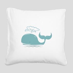 Spouting Whale Square Canvas Pillow