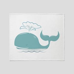 Spouting Whale Throw Blanket