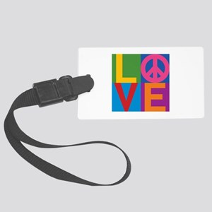 Color Block LOVE=Peace Large Luggage Tag