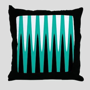 Wave Design Teal Throw Pillow