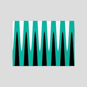 Wave Design Teal 5'x7'Area Rug