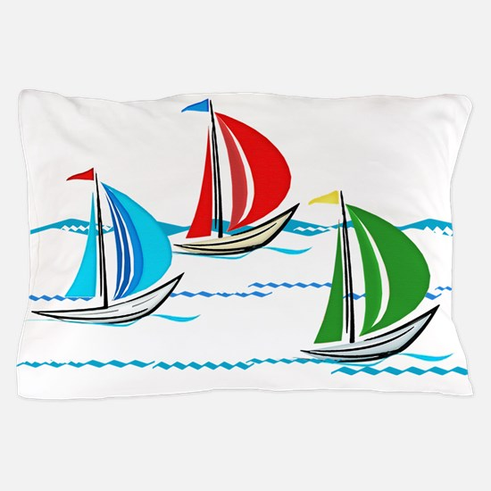 Three Yachts Racing Pillow Case