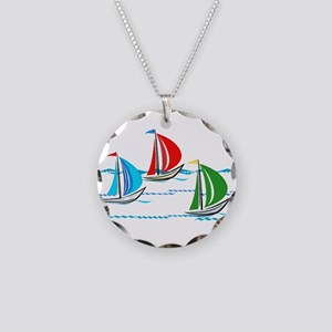 Three Yachts Racing Necklace Circle Charm