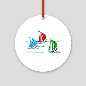 Three Yachts Racing Ornament (Round)