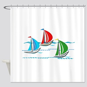 Three Yachts Racing Shower Curtain
