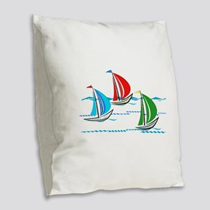 Three Yachts Racing Burlap Throw Pillow