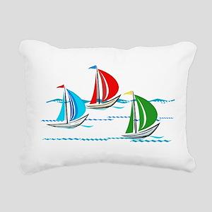 Three Yachts Racing Rectangular Canvas Pillow