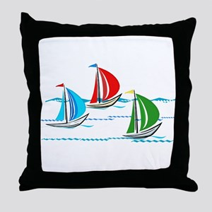 Three Yachts Racing Throw Pillow