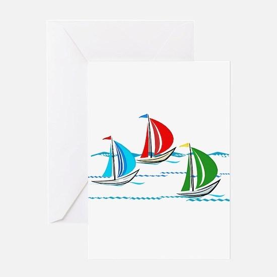 Three Yachts Racing Greeting Cards