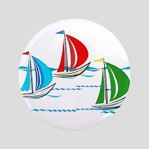 "Three Yachts Racing 3.5"" Button"