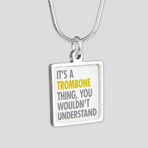 Its A Trombone Thing Silver Square Necklace