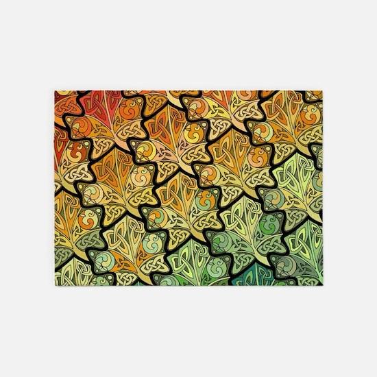 Celtic Leaf Tesselation 5'x7'Area Rug