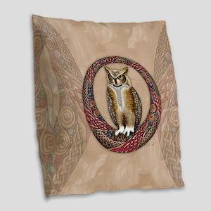 Celtic Owl Burlap Throw Pillow