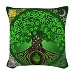 Circle Celtic Tree of Life Woven Throw Pillow