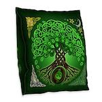 Circle Celtic Tree of Life Burlap Throw Pillow