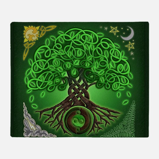 Circle Celtic Tree of Life Throw Blanket