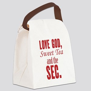 Love God, Sweet Tea and the SEC. Canvas Lunch Bag