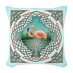 Celtic Flamingo Woven Throw Pillow