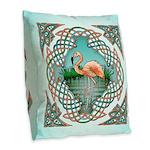 Celtic Flamingo Burlap Throw Pillow