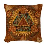 Celtic Pyramid Mandala Woven Throw Pillow