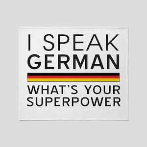 I speak German what's your superpower Throw Blanke