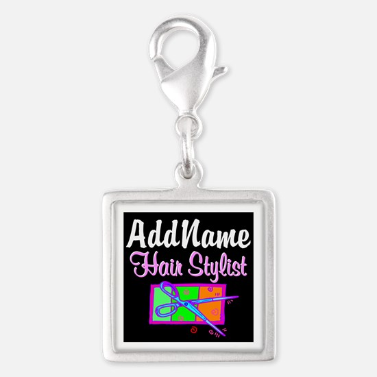 TRENDY STYLIST Silver Square Charm