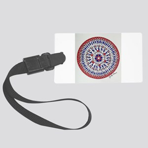 Mandala in Red White and Blue Large Luggage Tag