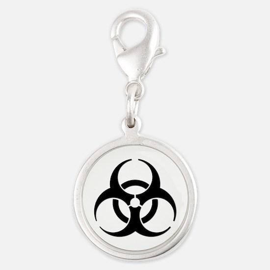Biohazard Symbol Silver Round Charm