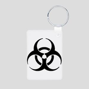 Biohazard Symbol Aluminum Photo Keychain
