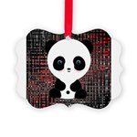 Panda Bear on Black and Red Ornament