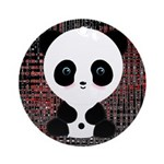 Panda Bear on Black and Red Ornament (Round)